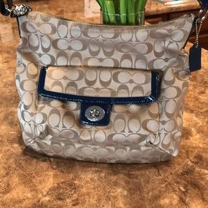 Coach Tan and Navy Blue Shoulder Bag